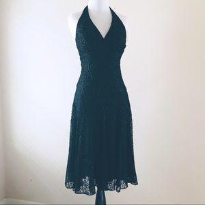 Cache black beaded halter top midi lace dress sz 2